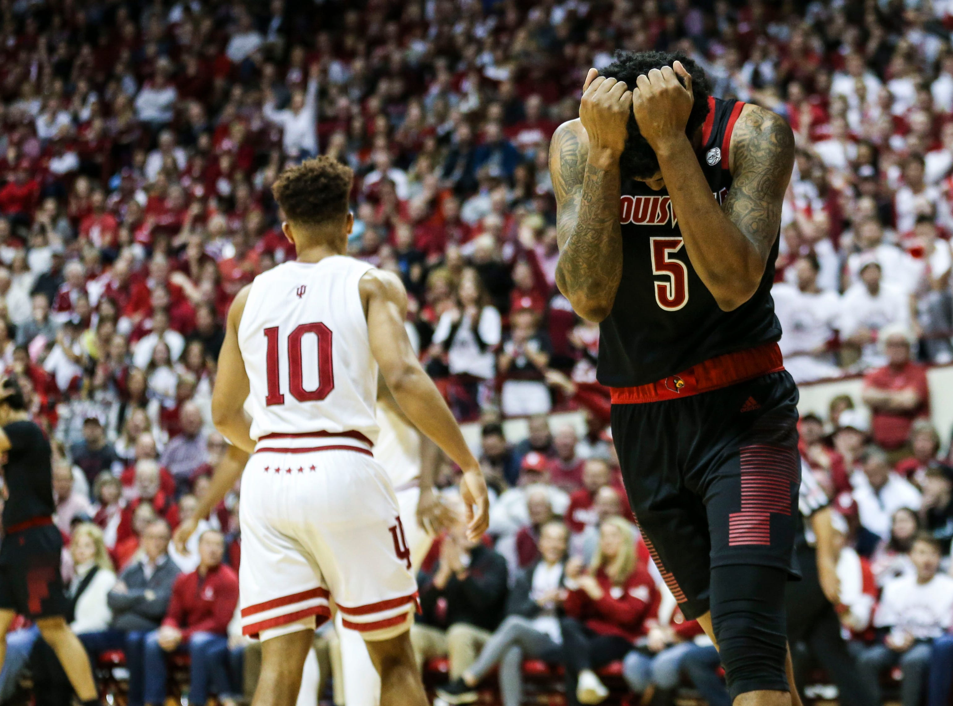 Louisville's Malik Williams reacts after losing control of the ball in the second half as the Cards lost to Indiana Saturday, Dec. 8, 2018 at Simon Skjodt Assembly Hall in Bloomington, Ind. The Hoosiers beat Louisville 68-67 Williams finished with two points.