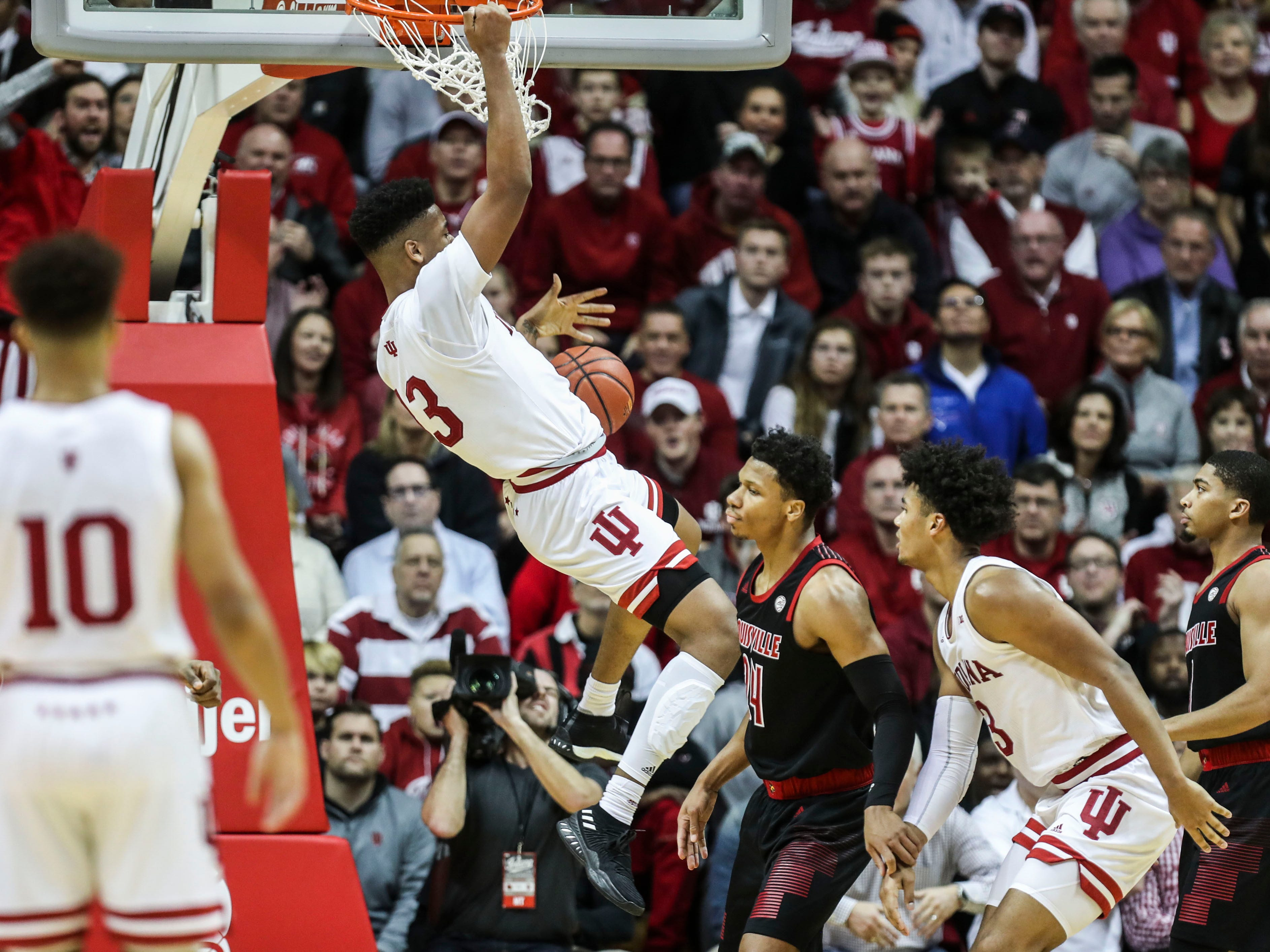 Indiana's Juwan Morgan slammed down two of his 15 points Saturday, Dec. 8, 2018 at Simon Skjodt Assembly Hall in Bloomington, Ind. The Hoosier beat Louisville 68-67