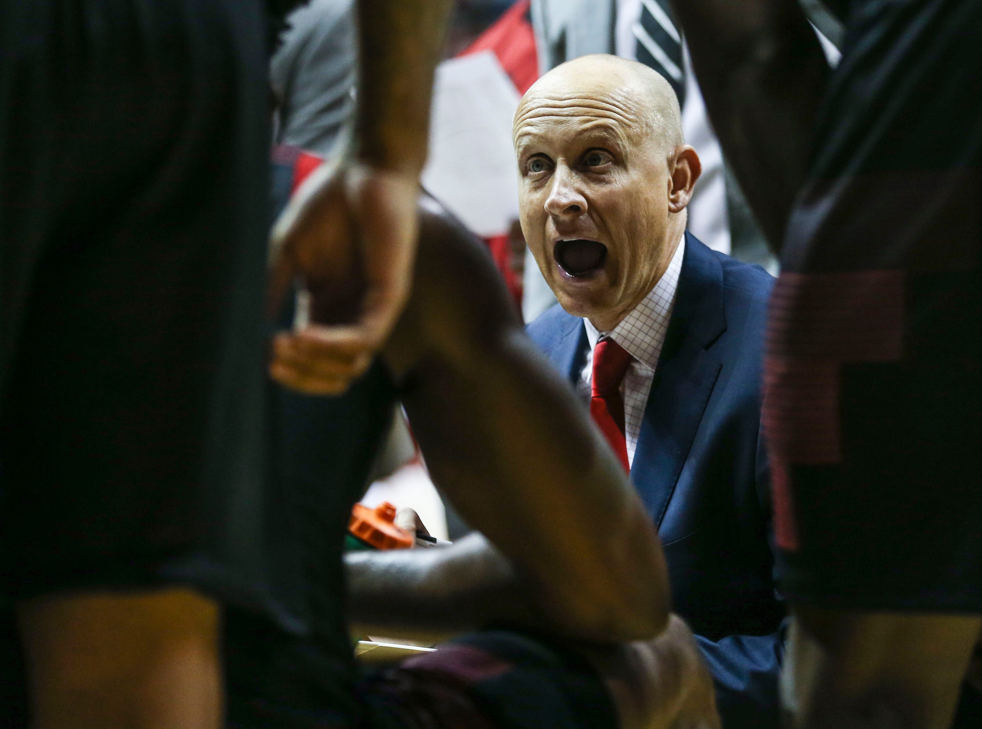 "Louisville's Chris Mack yells instructions to his team late in the second half Saturday, Dec. 8, 2018 at Simon Skjodt Assembly Hall in Bloomington, Ind. ""We couldn't establish anything inside today,"" said Mack afterwards. The Hoosiers beat Louisville 68-67"