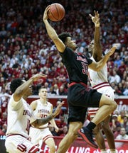 Louisville's Jordan Nwora goes up for two of his 24 points against Indiana Saturday, Dec. 8, 2018 at Simon Skjodt Assembly Hall in Bloomington, Ind. But it wasn't enough as the Cards lost to the Hoosiers 68-67.