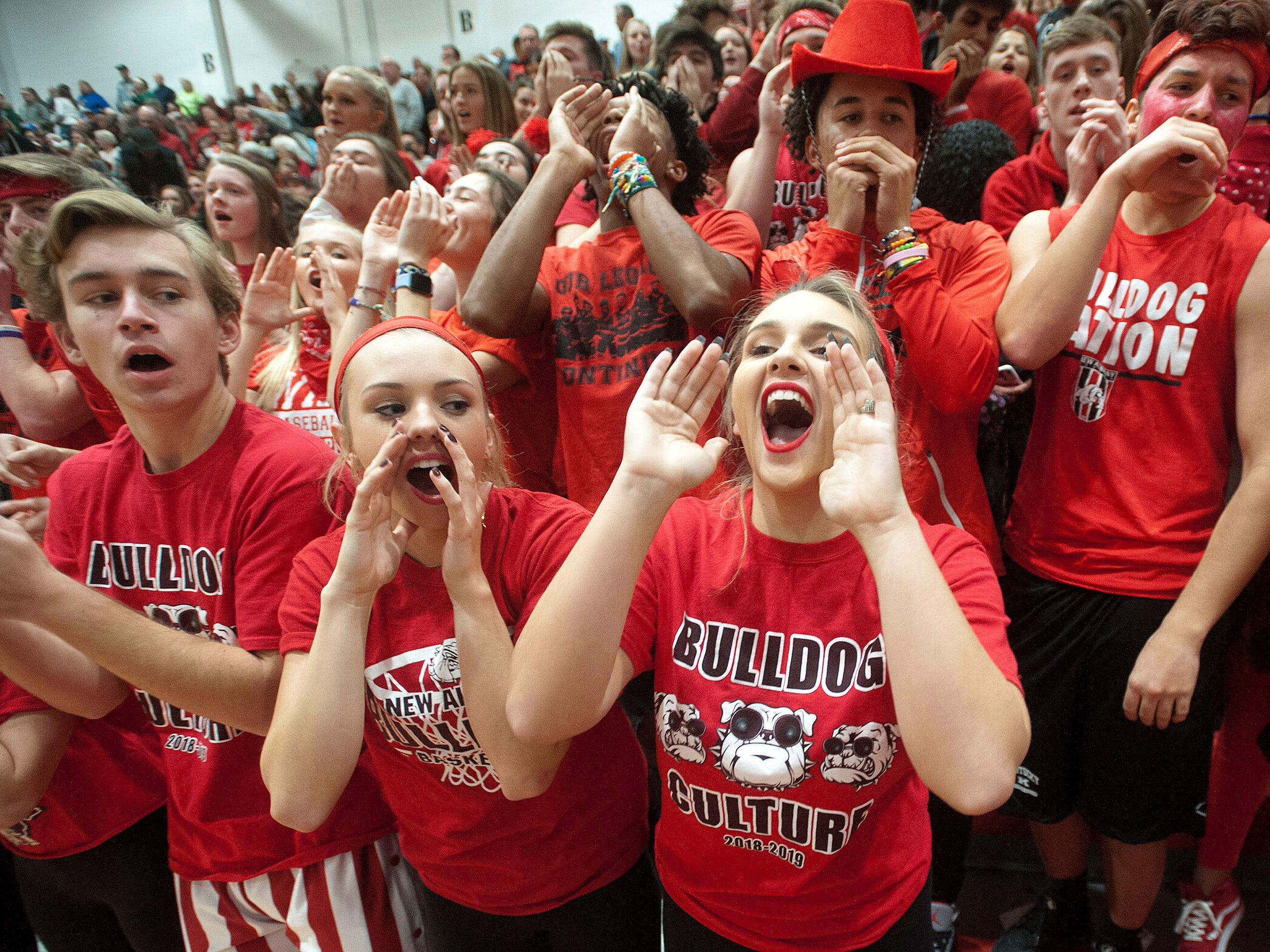 New Albany fans cheer for their boys basketball team as it takes on rival Floyd Central.07 December 2018