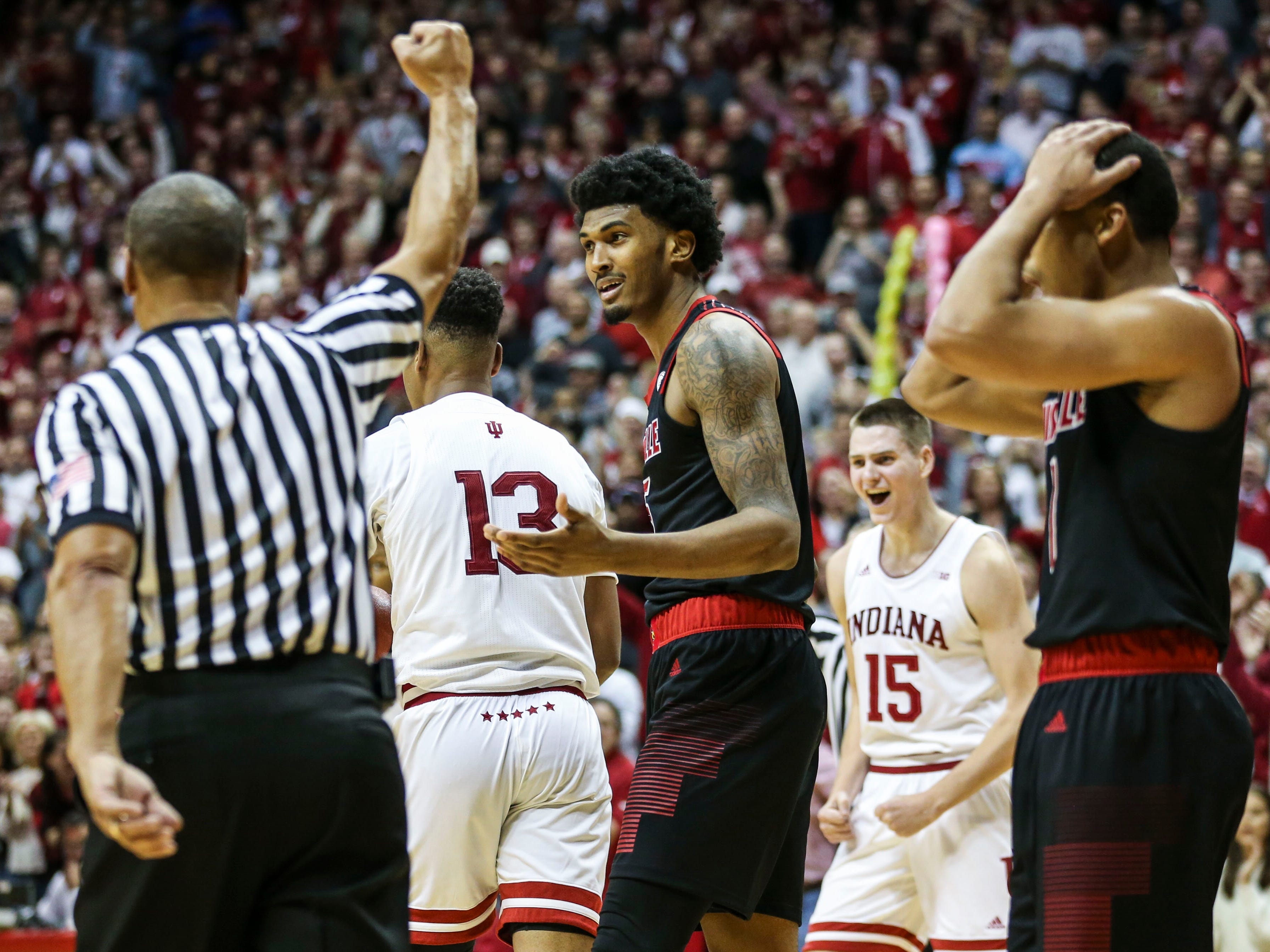 "Louisville's Malik Williams reacts in the waning seconds as the Cards lost to Indiana Saturday, Dec. 8, 2018 at Simon Skjodt Assembly Hall in Bloomington, Ind. ""We couldn't establish anything inside today,"" said Mack afterwards. The Hoosiers beat Louisville 68-67"