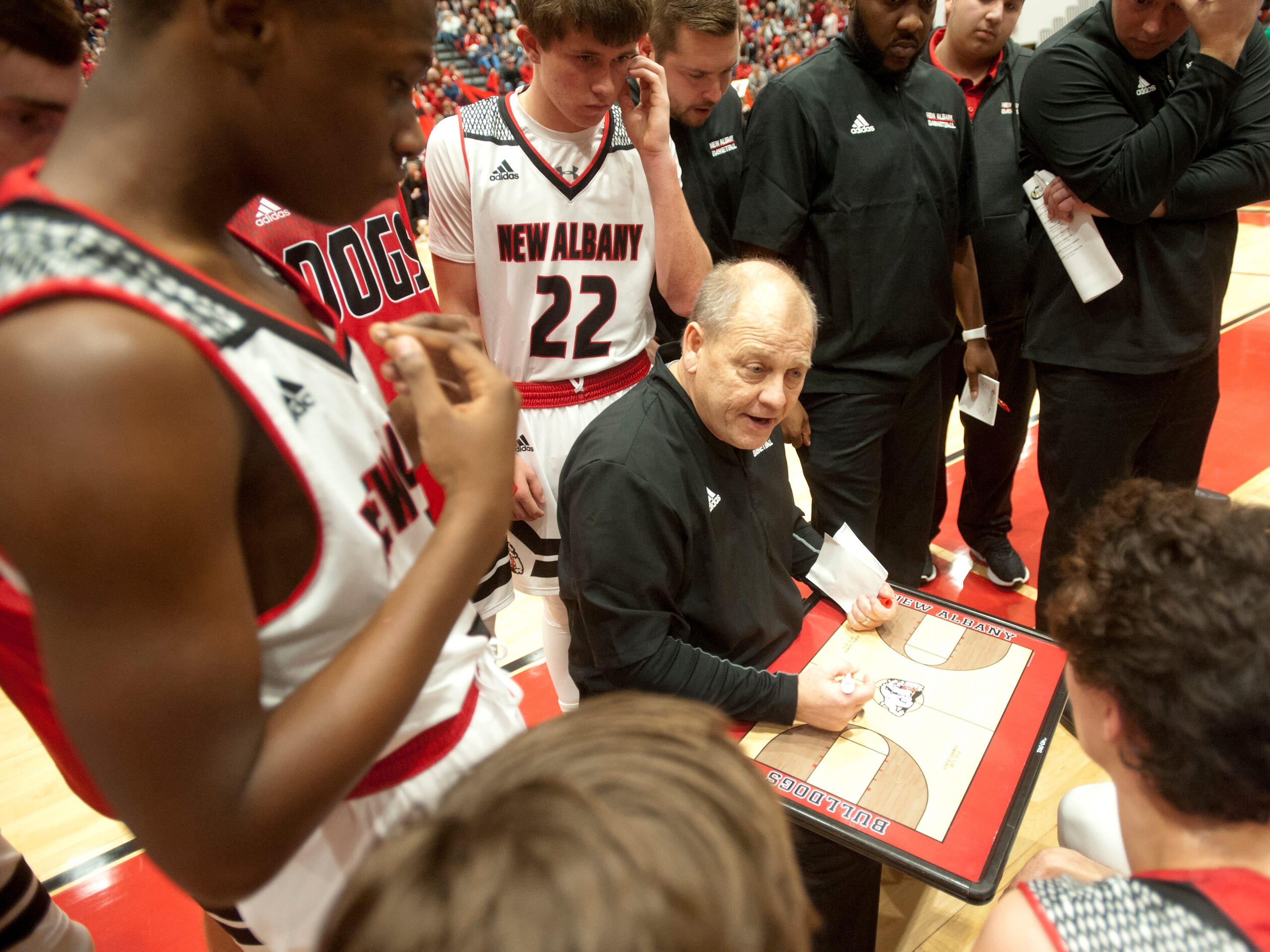 New Albany head basketball coach Jim Shannon sketches a play during a time-out.07 December 2018
