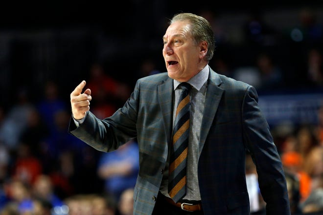 Michigan State Spartans head coach Tom Izzo reacts against the Florida Gators during the first half at Exactech Arena.
