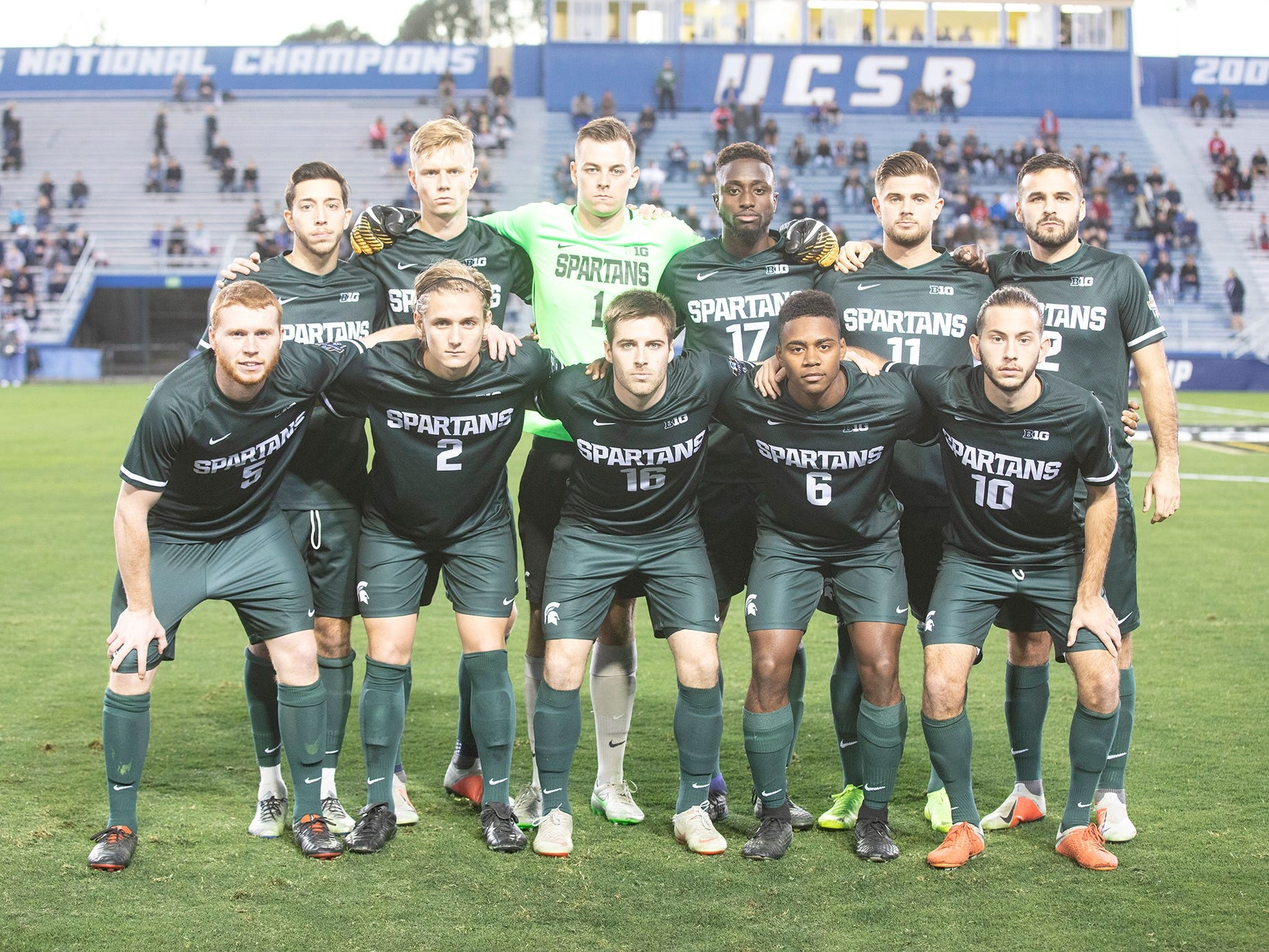 The starting 11 for Michigan State men's soccer in its College Cup national semifinal match vs. Akron on Dec. 7, 2018. Front row (l-r): Michael Pimlott, Jack Beck, Connor Corrigan, DeJuan Jones, Giuseppe Barone. Back row: Hunter Barone, Patrick Nielsen, Jimmy Hague, Michael Wetungu, Ryan Sierakowski and John Freitag.