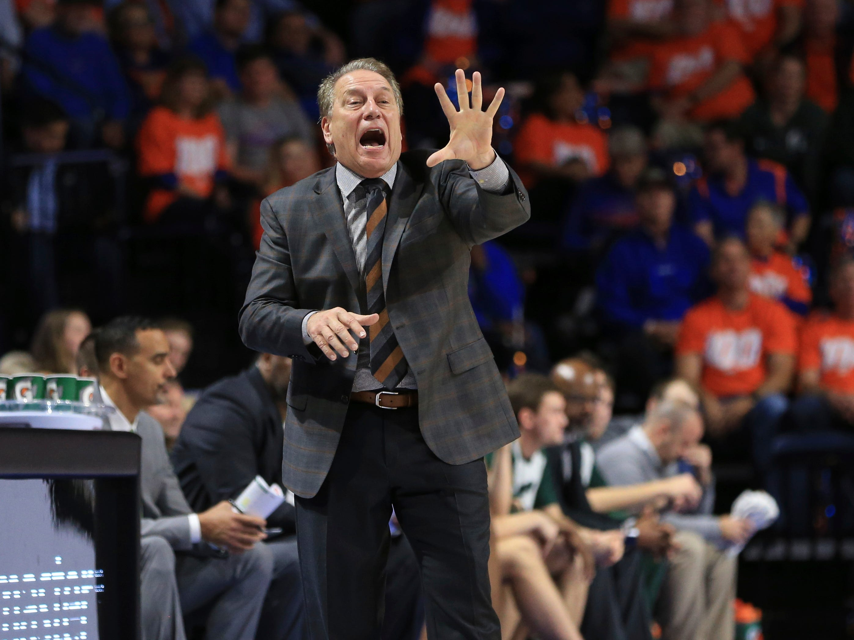 Michigan State head coach Tom Izzo directs his players during the second half of an NCAA college basketball game against Florida Saturday, Dec. 8, 2018, in Gainesville, Fla. Michigan State defeated Florida 63-59.