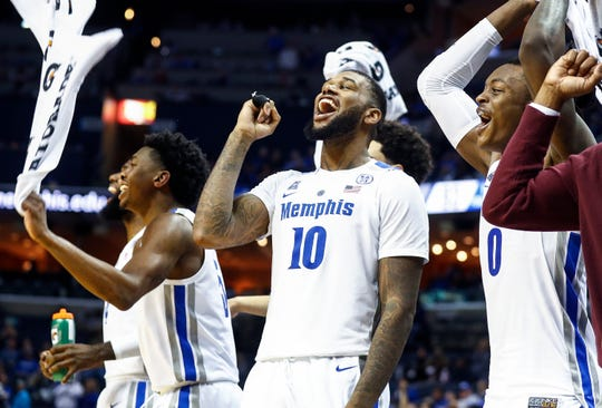 Memphis' Mike Parks Jr. celebrates on the bench during action against UAB at the FedExForum in Memphis, Tenn., Saturday December 8, 2018