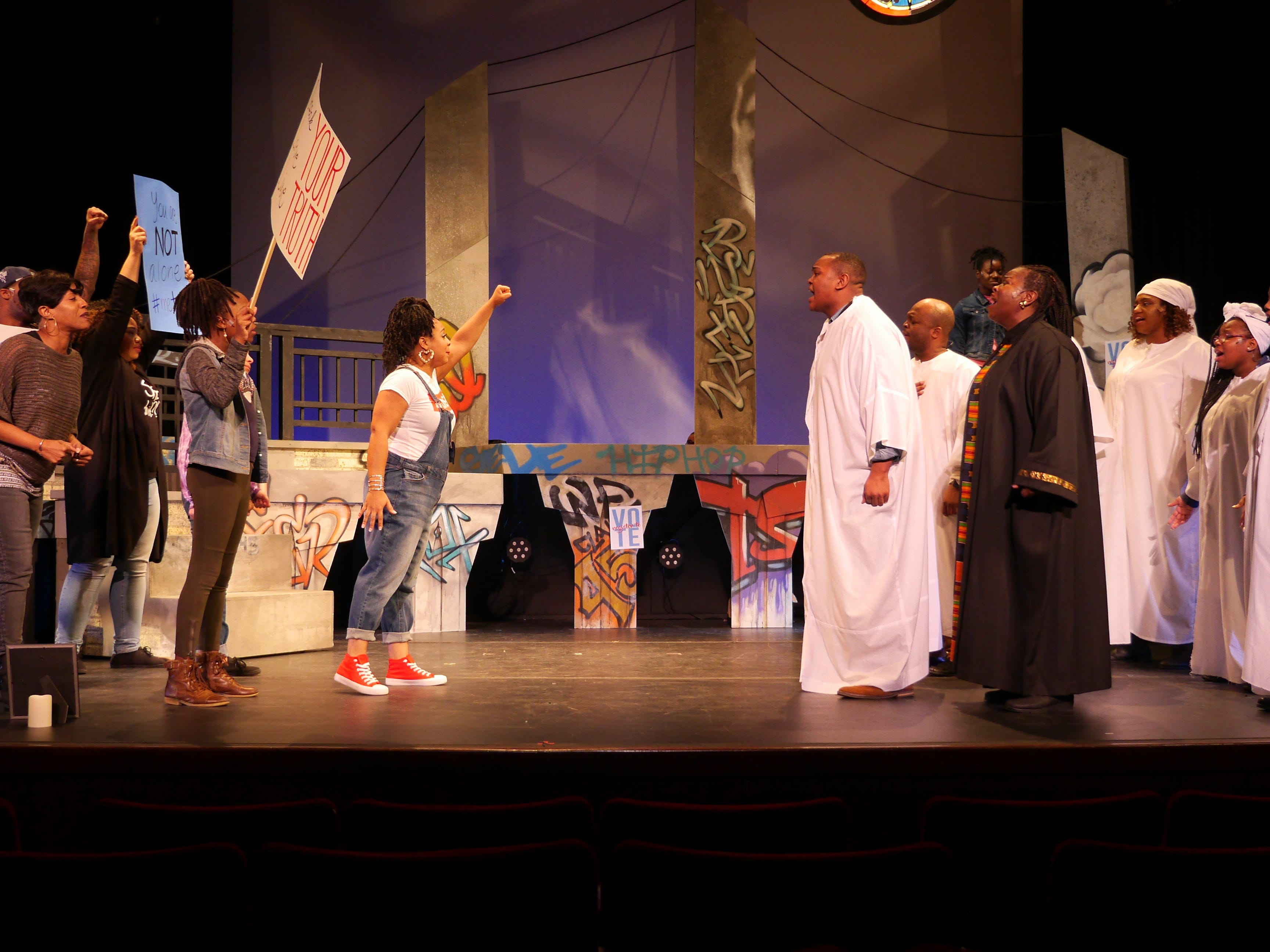 "Activists confront church members in ""Black Nativity,"" performed by Bronzeville Arts Ensemble."