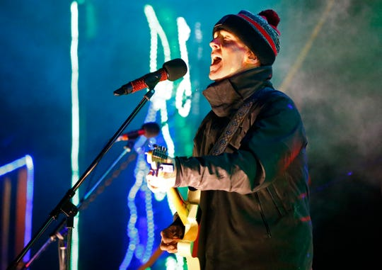 Willy Porter with The Trews perform from the Canadian Pacific Holiday Train in Oconomowoc on Dec. 7.