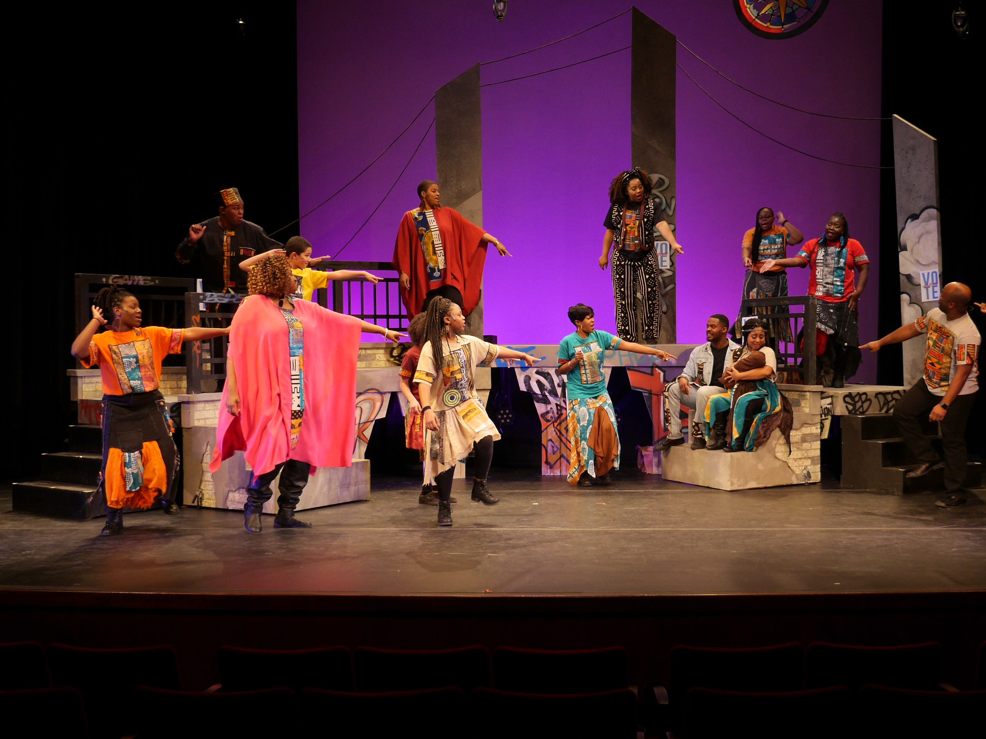 "All eyes are on Mary (Natalie Harris), Josepher (Di'Monte Henning) and the baby Jesus in ""Black Nativity,"" performed by Bronzeville Arts Ensemble."