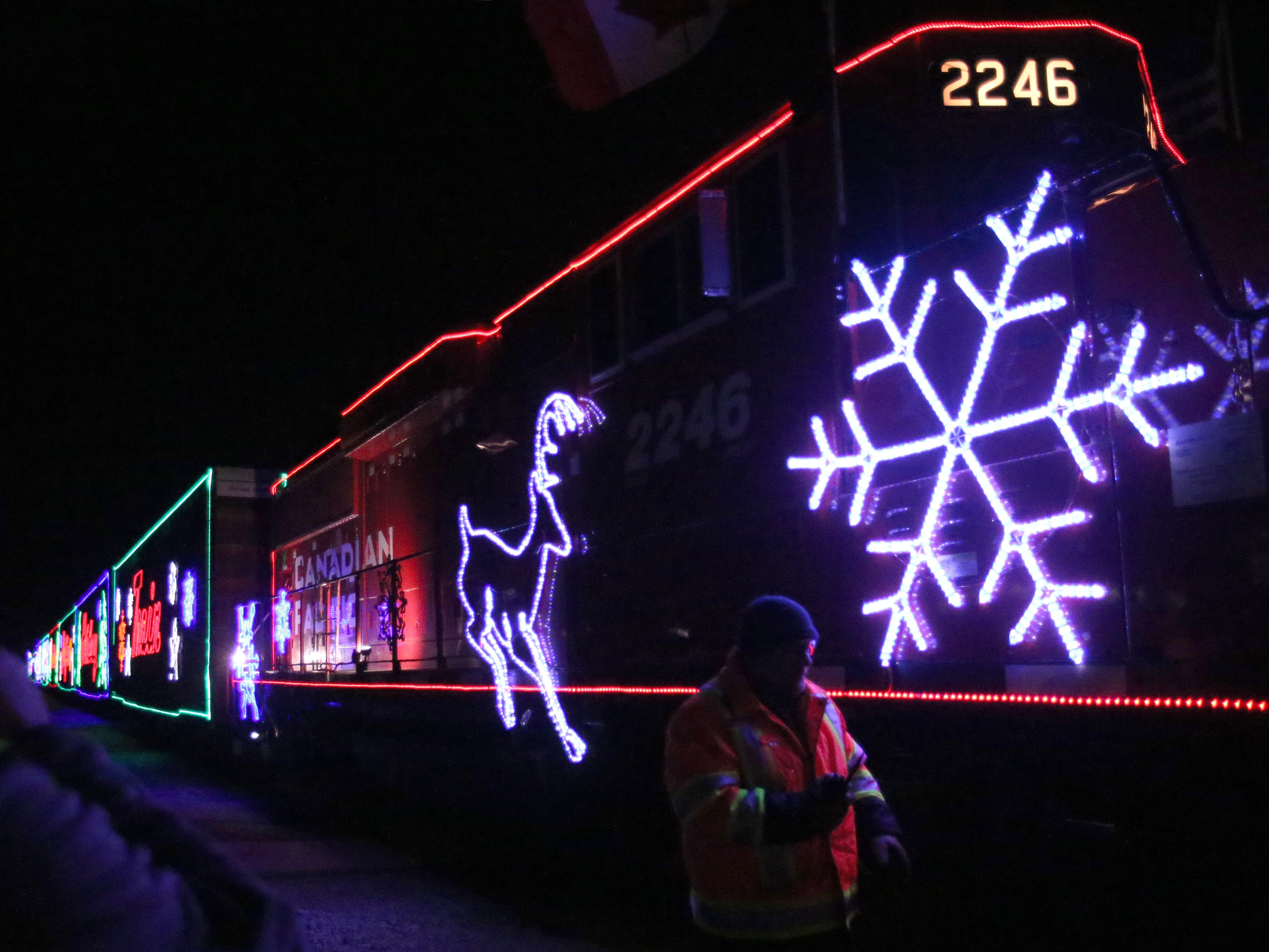 The Canadian Pacific Holiday Train rolls to a stop in downtown  Oconomowoc on Dec. 7.