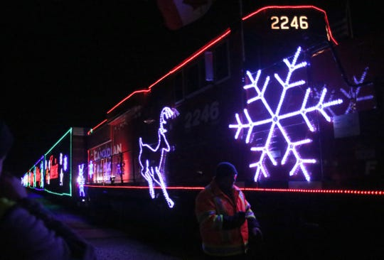 The Canadian Pacific Holiday Train rolls to a stop in downtown  Oconomowoc on Dec. 7, 2018.