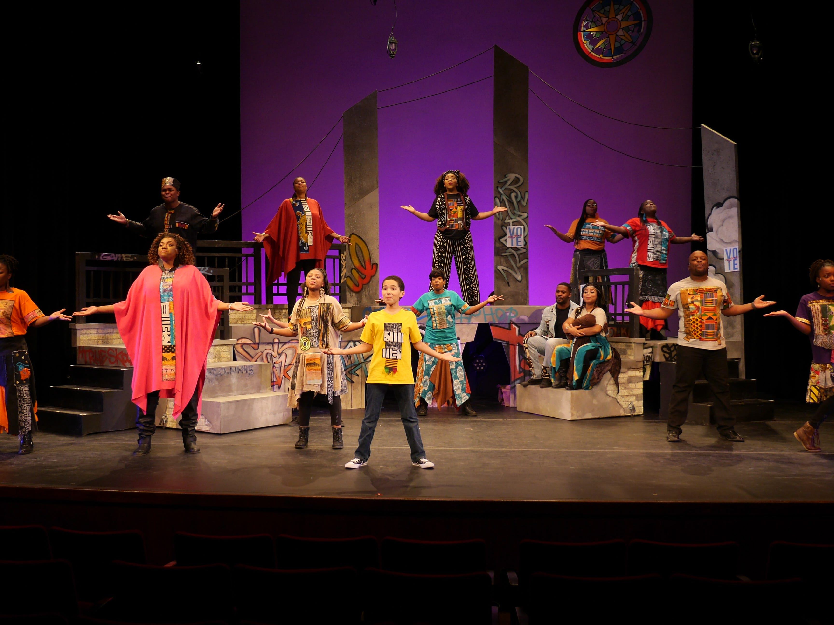 "Ensemble members perform Christopher Gilbert's choreography in ""Black Nativity,"" performed by Bronzeville Arts Ensemble."