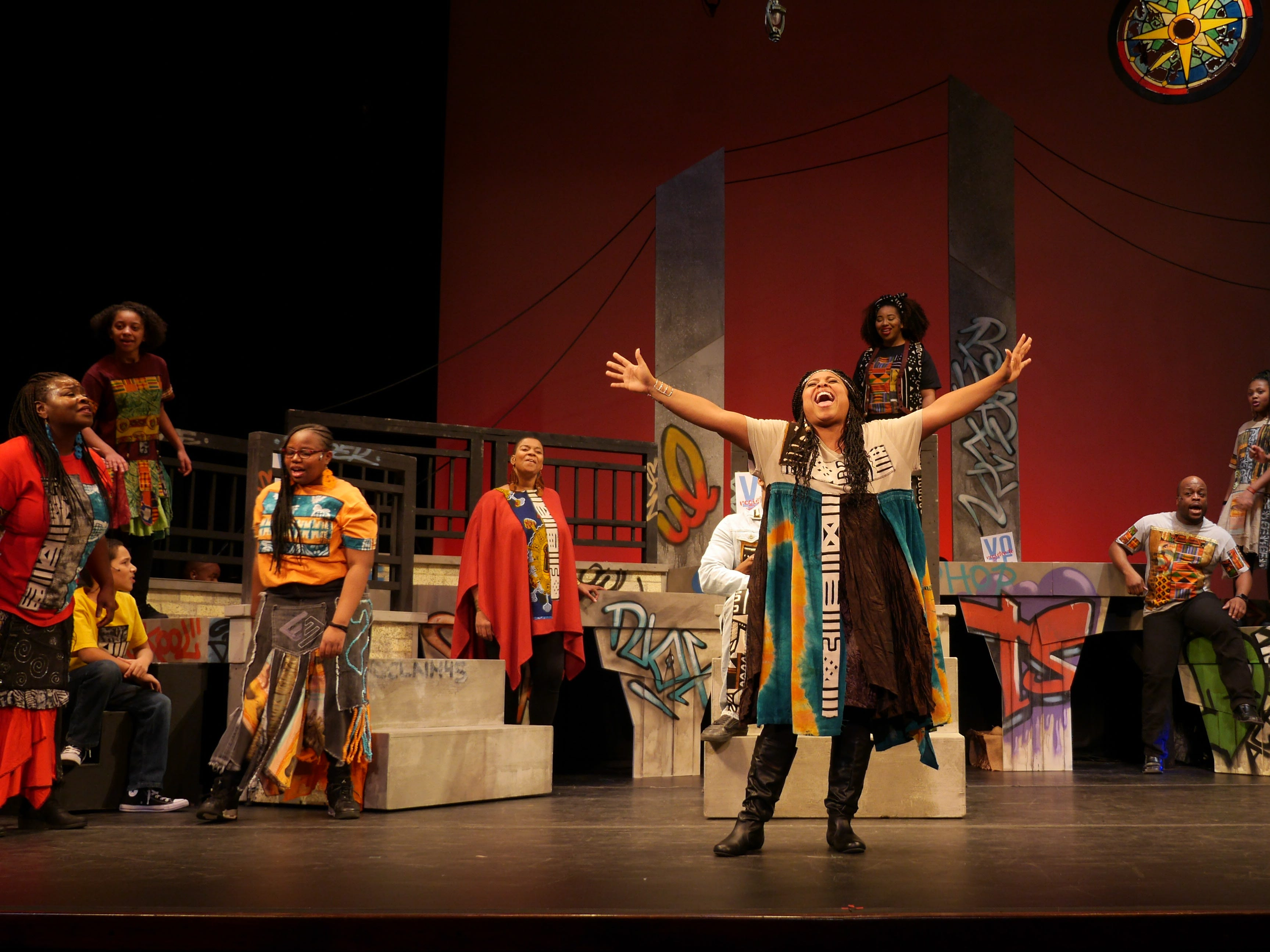 "Mary (Natalie Harris) sings in ""Black Nativity,"" performed by Bronzeville Arts Ensemble."