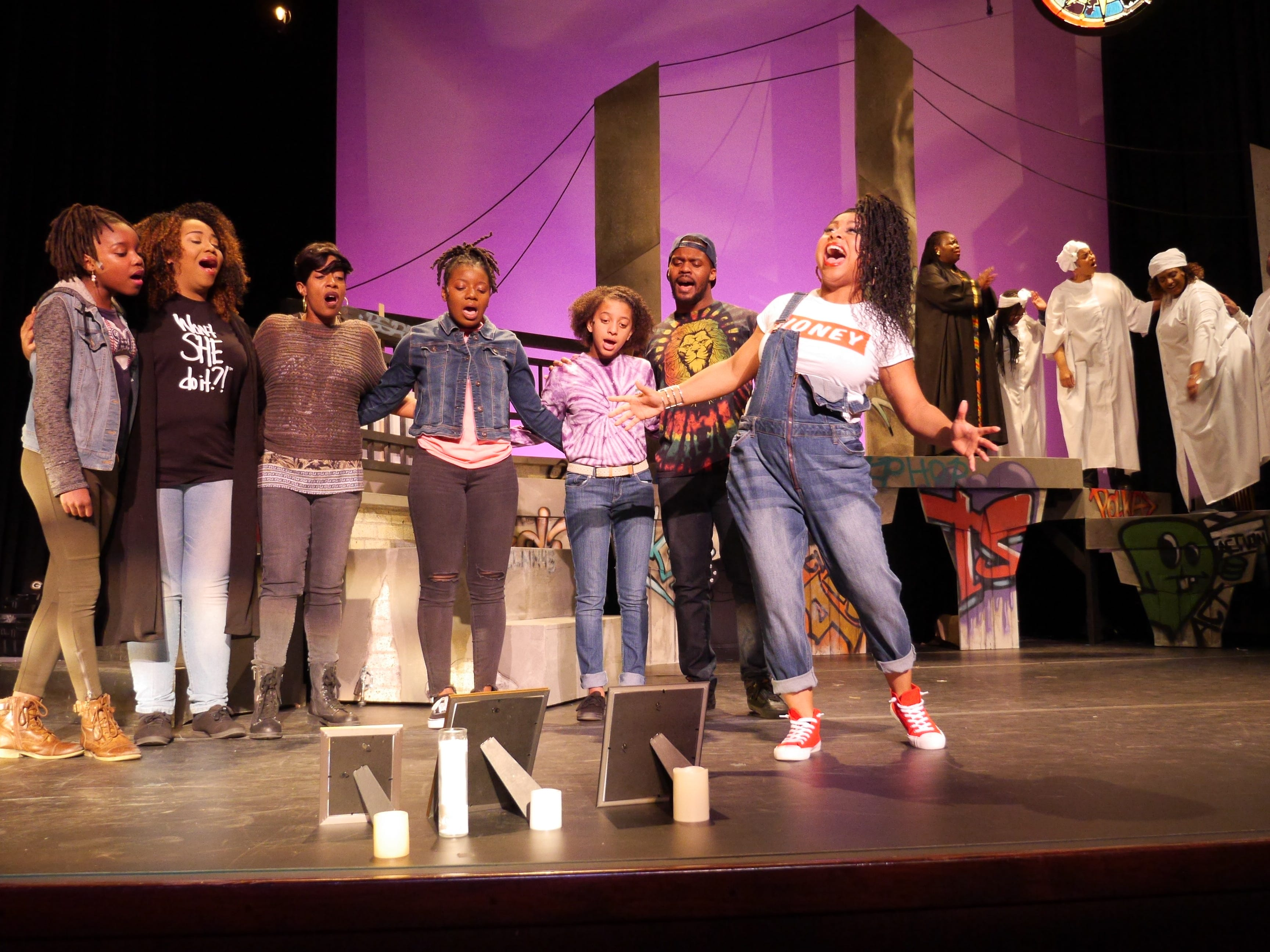 "Street activists sing together in ""Black Nativity,"" performed by Bronzeville Arts Ensemble."