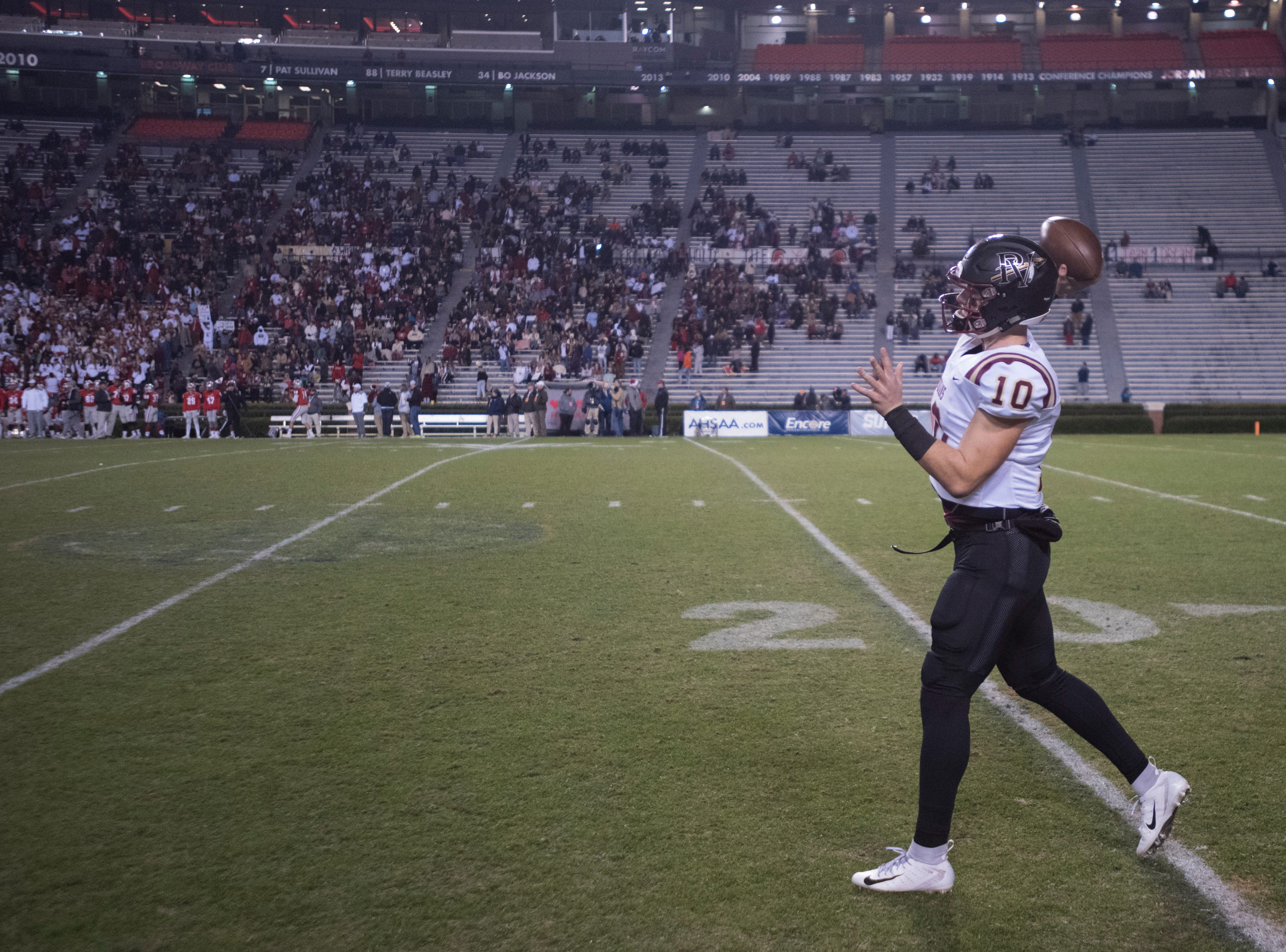 Pinson Valley's Bo Nix (10) warms up before the Class 6A state championship at Jordan-Hare Stadium in Auburn, Ala., on Friday, Dec. 7, 2018. Pinson Valley defeated Saraland 26-17.