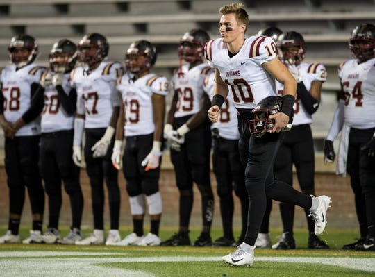 Pinson Valley's Bo Nix (10) is introduced during the Class 6A state championship at Jordan-Hare Stadium in Auburn, Ala., on Friday, Dec. 7, 2018. Pinson Valley defeated Saraland 26-17.