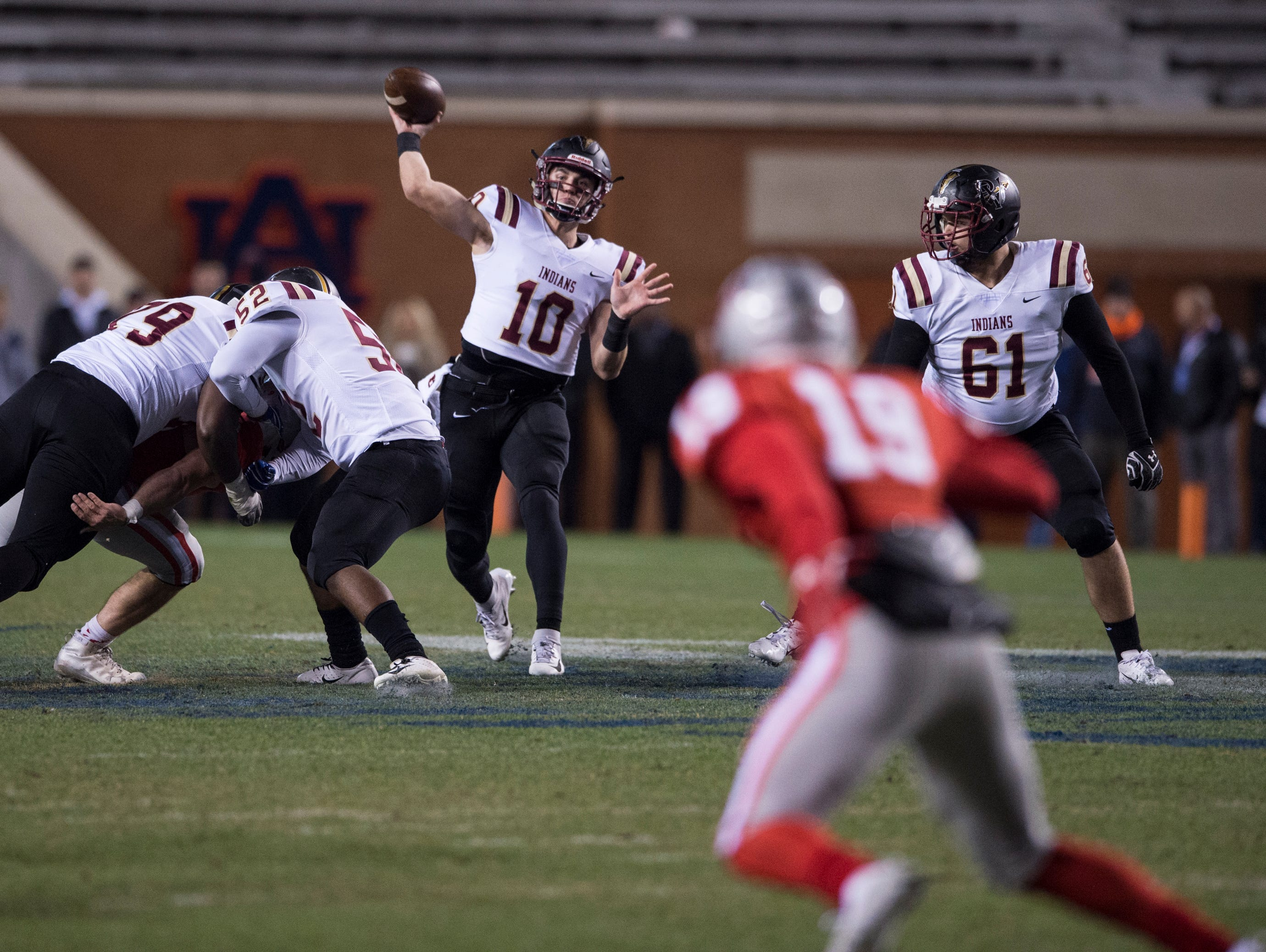 Pinson Valley's Bo Nix (10) throws the ball down field during the Class 6A state championship at Jordan-Hare Stadium in Auburn, Ala., on Friday, Dec. 7, 2018. Pinson Valley leads Saraland 12-3 at halftime.