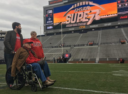 Glenn Daniel, the 93-year-old retired Luverne coaching legend, was honored before the Tigers played Fyffe in the 2A championship game.