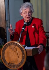 Governor Kay Ivey speaks during the State Capitol Christmas Tree Lighting at the capitol building in Montgomery, Ala., on Friday evening December 7, 2018.