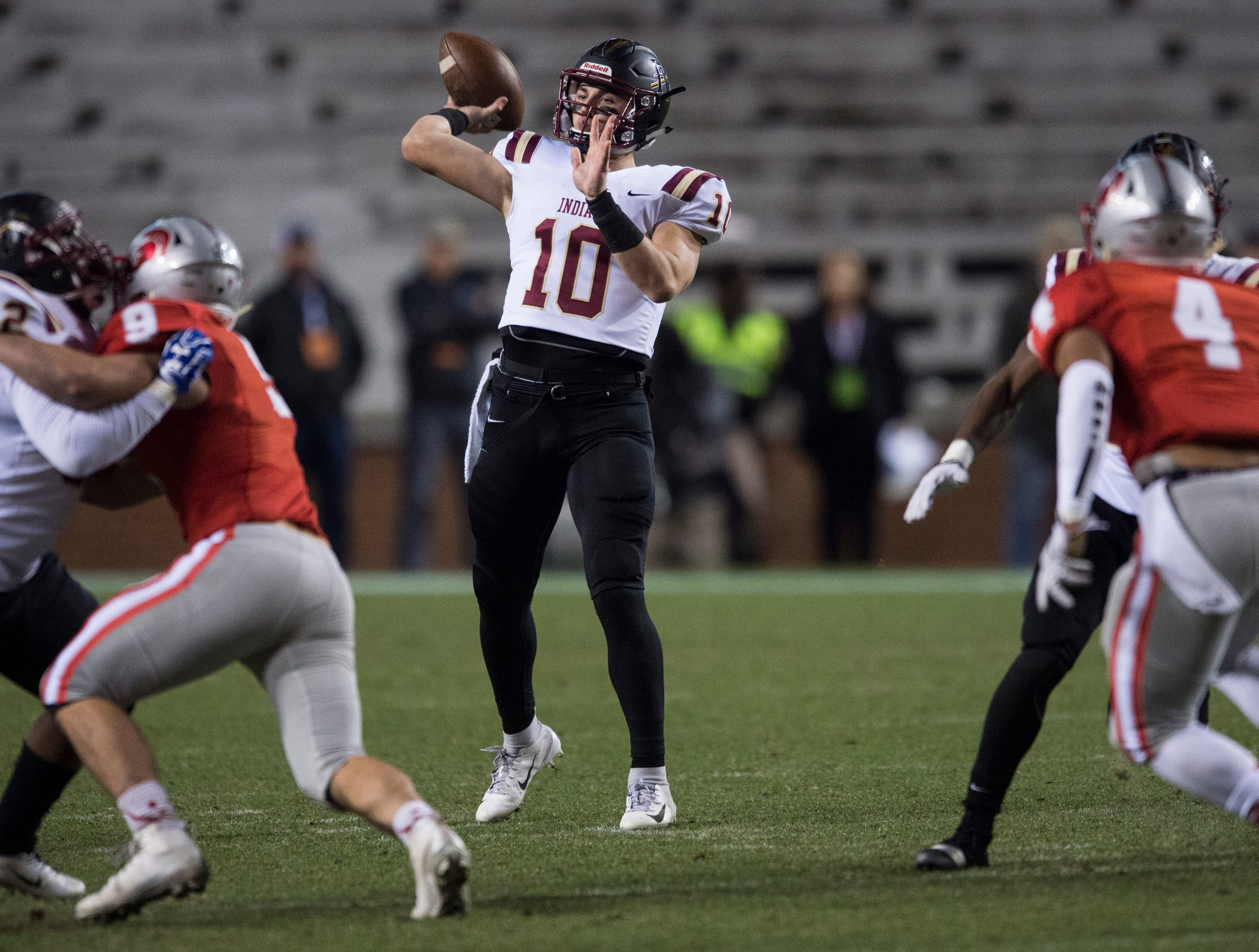 Pinson Valley's Bo Nix (10) throws the ball during the Class 6A state championship at Jordan-Hare Stadium in Auburn, Ala., on Friday, Dec. 7, 2018. Pinson Valley defeated Saraland 26-17.