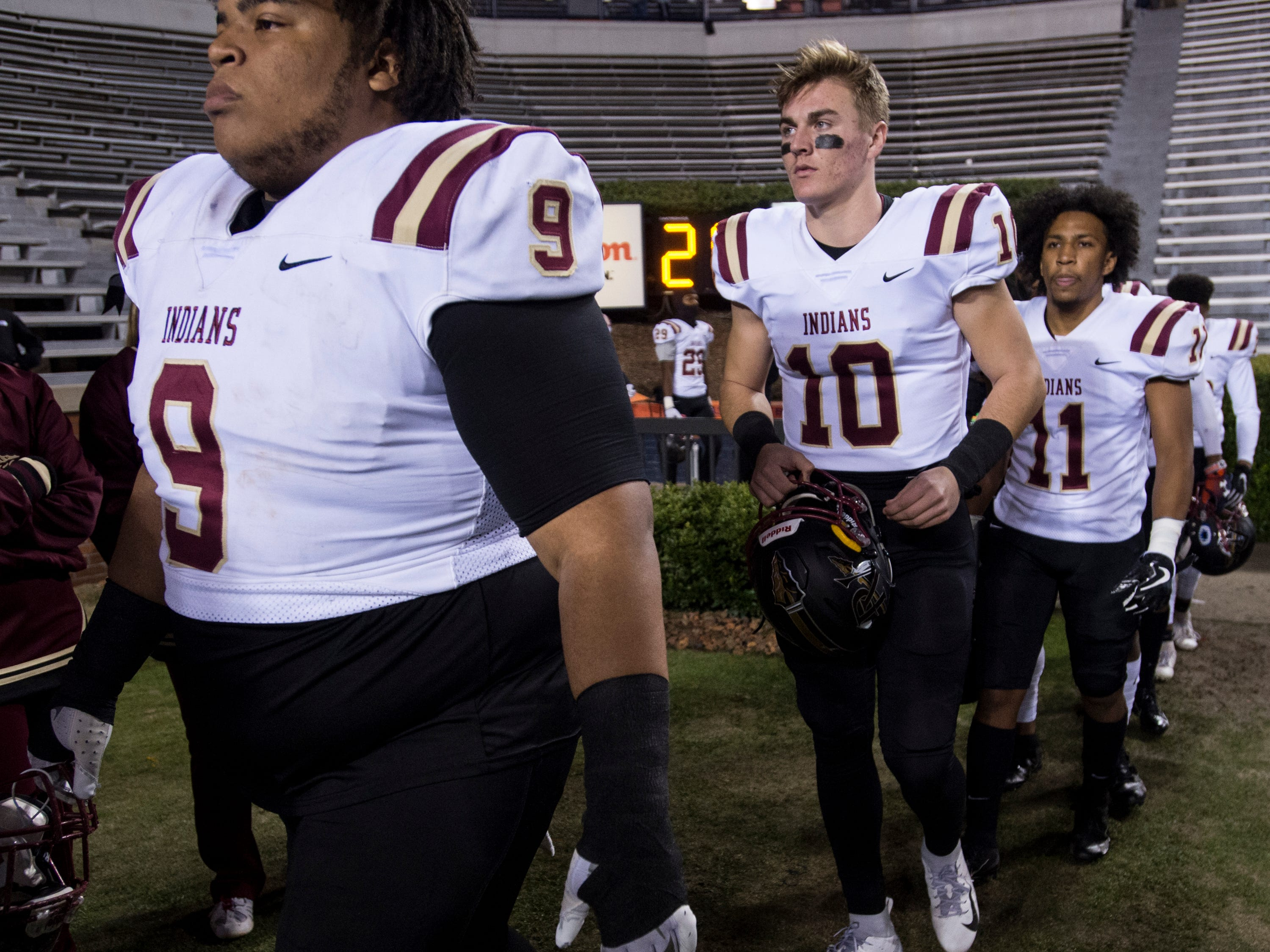 Pinson Valley's Bo Nix (10) takes the field with his team before the Class 6A state championship at Jordan-Hare Stadium in Auburn, Ala., on Friday, Dec. 7, 2018. Pinson Valley leads Saraland 12-3 at halftime.