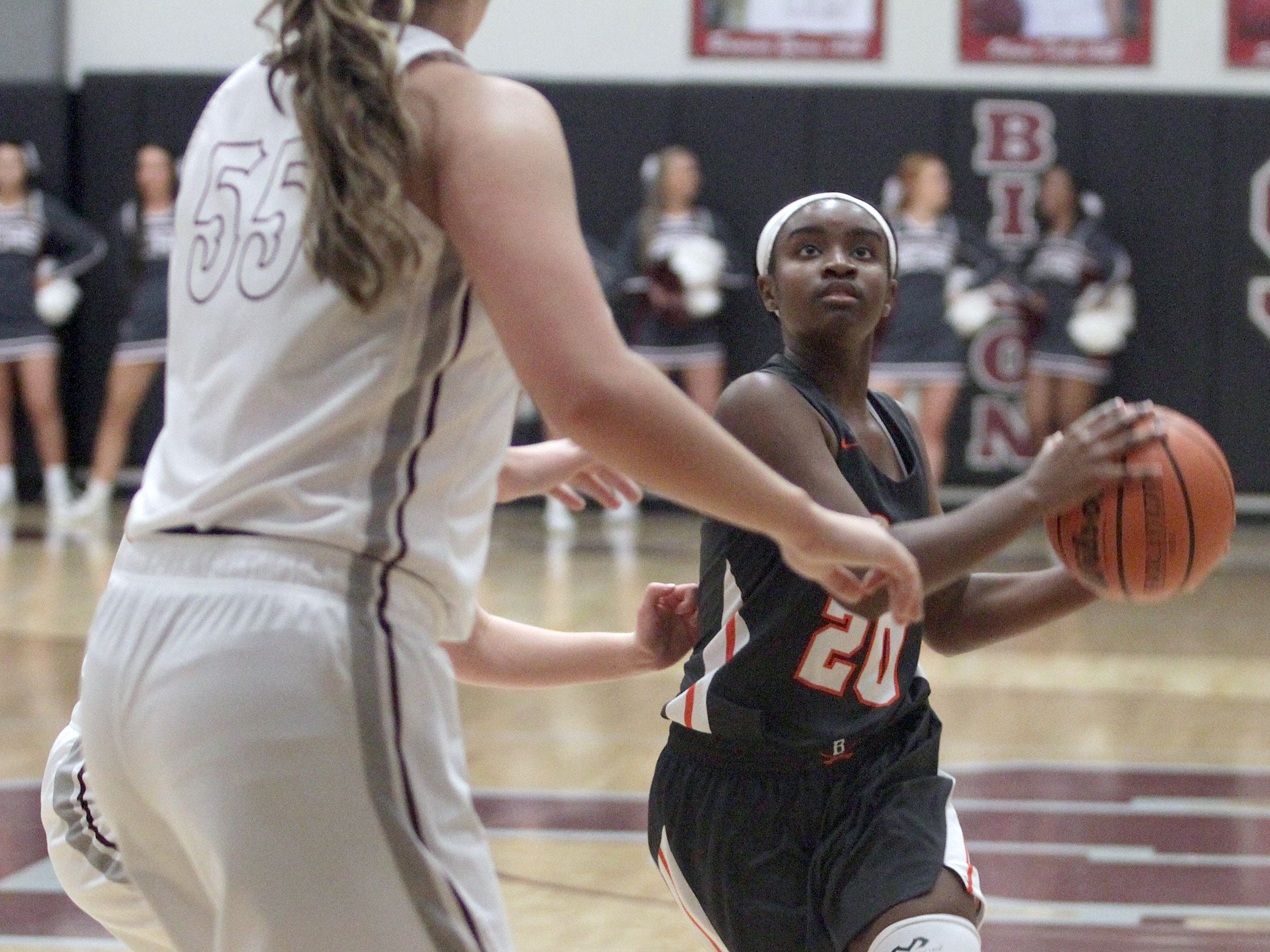 Beech's Deshiya Hoosier drives on Station Camp's Faith Eubank on Friday, December 7, 2018.