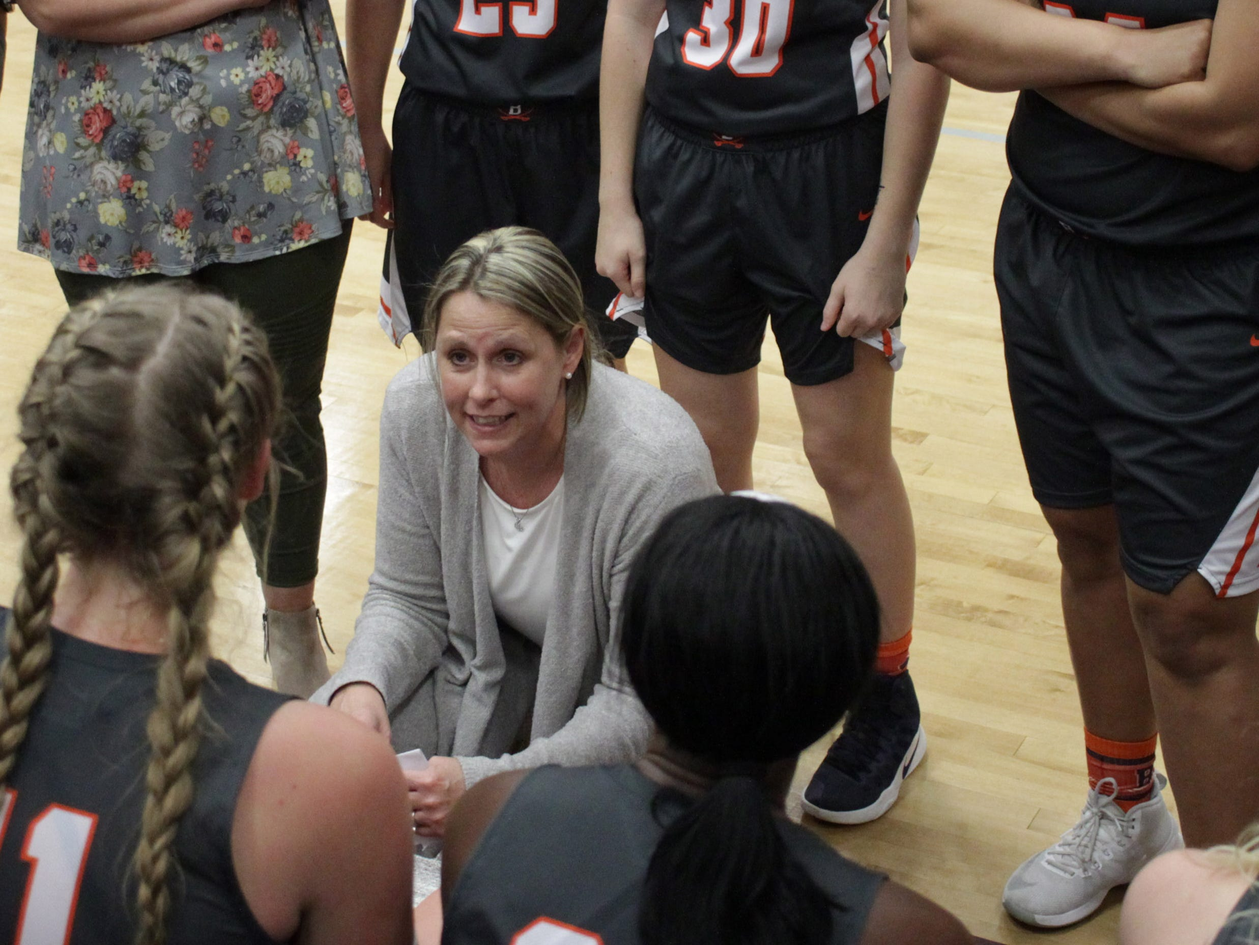 Beech coach Kristi Utley talks with her team as they play Station Camp on Friday, December 7, 2018.