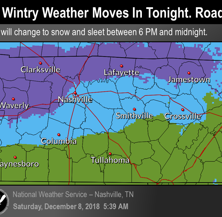 Winter weather advisory issued for Nashville, areas north of I-40