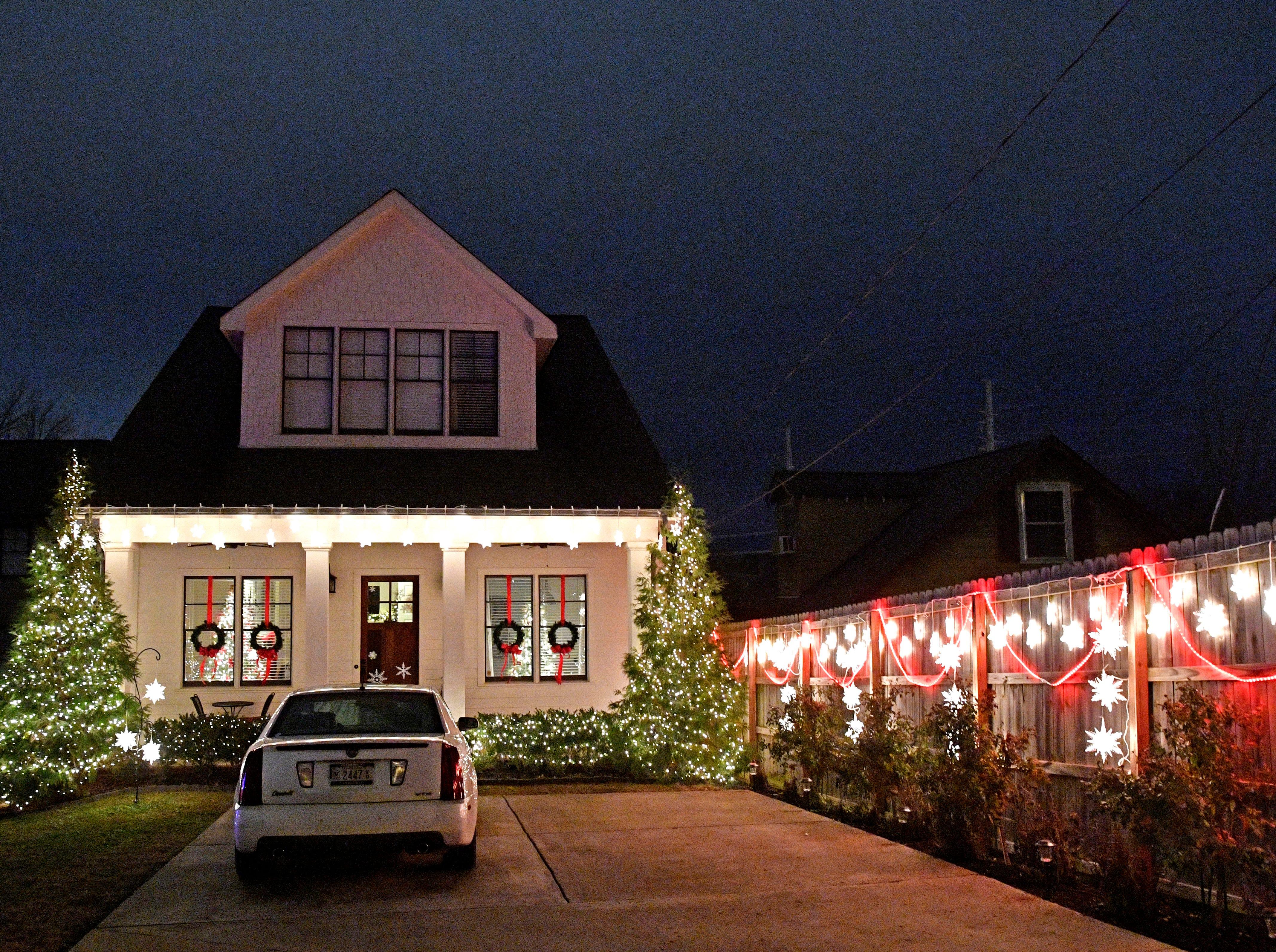 Christmas lights on W. Linden Ave Thursday Dec. 6, 2018, in Nashville, Tenn.