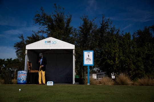 Brendan Cunningham, 73, waits to make his tee announcements during the 30th annual QBE Shootout second round on Saturday.