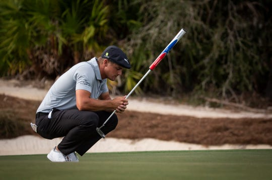 Bryson DeChambeau takes a moment to close his eyes before he putts the ball during the 30th annual QBE Shootout second round on Saturday.