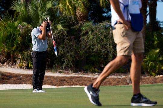 Bryson DeChambeau reacts to a missed putt during the 30th annual QBE Shootout second round on Saturday.