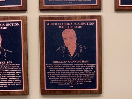The plaque for Naples' Brendan Cunningham's induction into the South Florida PGA Hall of Fame on Nov. 13.