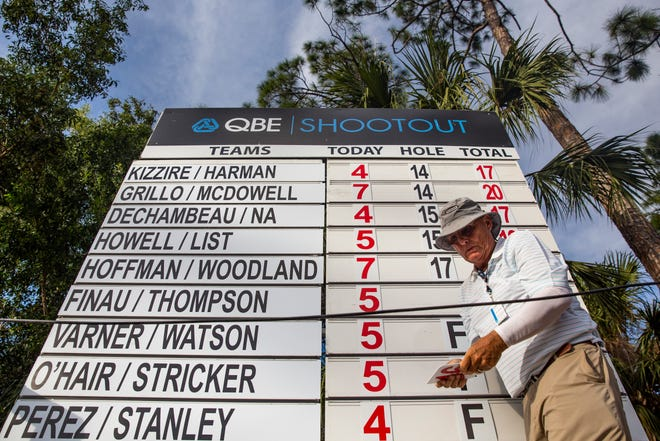 Volunteer Dwight Olson updates the scoreboard during the 30th annual QBE Shootout second round on Saturday at Tiburón Golf Club in Naples.
