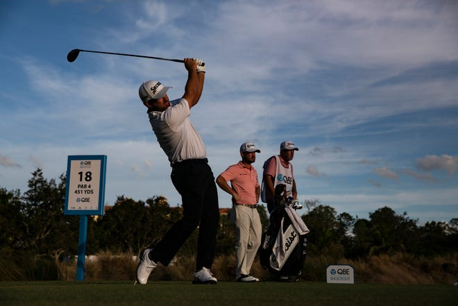 Graeme McDowell hits off the 18th tee during the 30th annual QBE Shootout second round on Saturday. McDowell and playing partner Emiliano Grillo are in a three-way tie for the lead.
