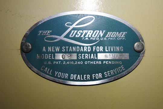 Closter's historic Lustron House, one of the last two pre-fab post WWII manufactured homes remaining in Bergen County, is open for a public tour on Saturday December 8, 2018. The plaque showing the serial number of the home.