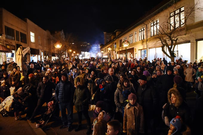 The crowd gathers at the Montclair tree lighting in Montclair  on Friday December 7, 2018.