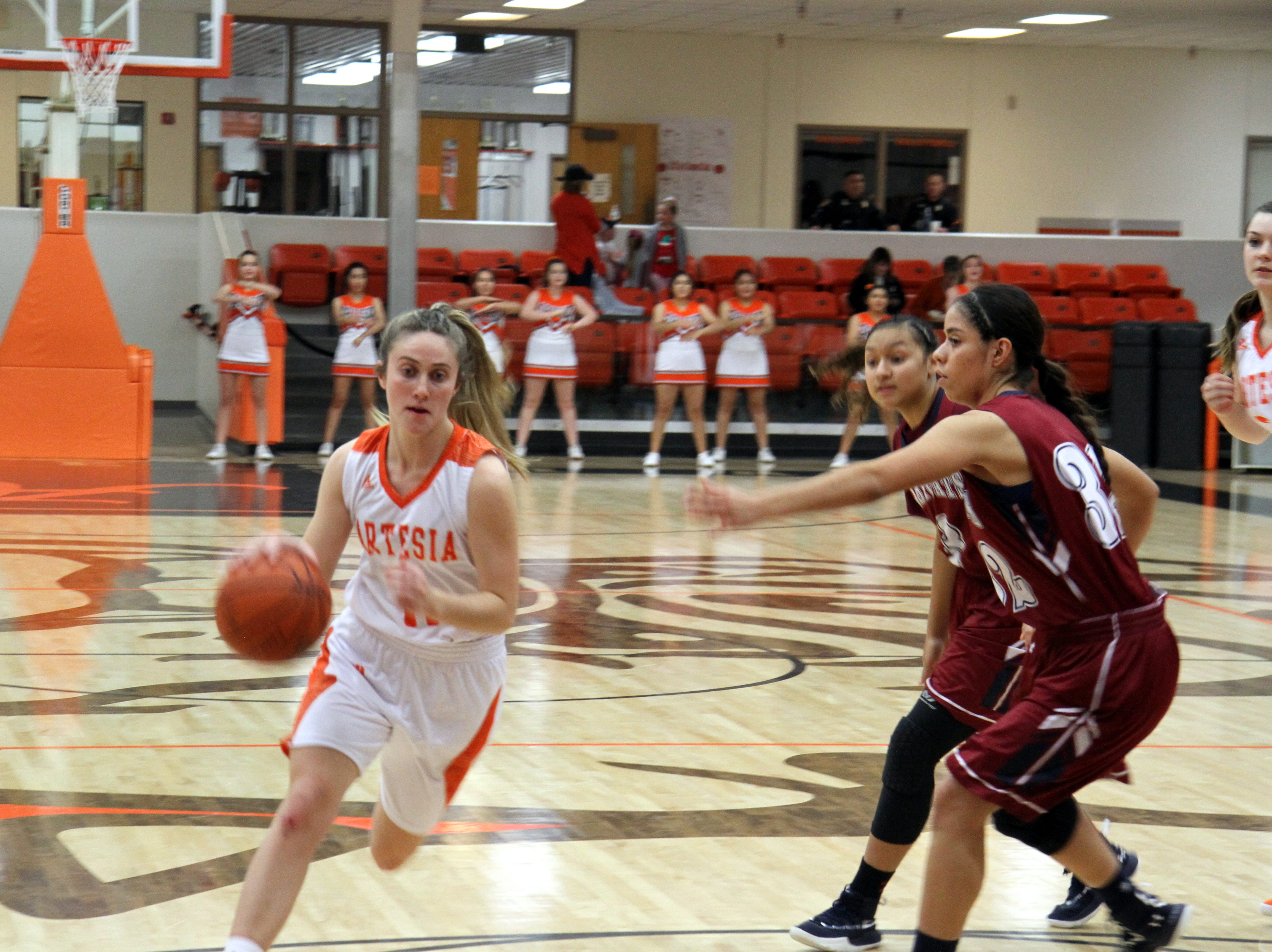 Makinli Taylor drives against Deming during Friday's second round of the Artesia Tournament of Champions.