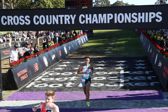 Kirtland Central's Kashon Harrison crosses the finish line at the 2018 Footlocker Cross Country Nationals on Saturday in San Diego. Harrison placed 11th out of 40 runners and was named a third-team All-American.