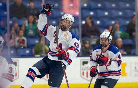 Rugged defenseman Tyler Kleven (43) is one of four members of the U.S. NTDP Under-17 team listed by TSN hockey analyst Craig Button as being among the top-20 players to watch in the 2020 NHL draft.