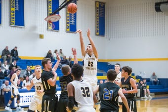 Behind 35 points from senior Logan Collins, Littlestown crushed Kennard-Dale 95-58 in the Southern Border Shootout tournament on Friday night.