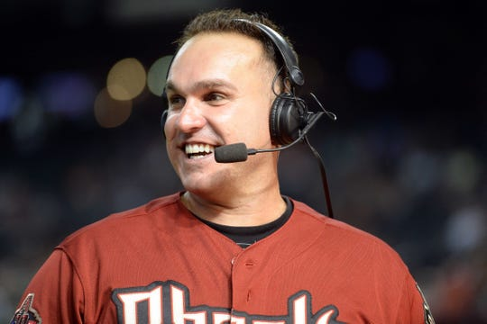 Former Arizona Diamondbacks player Miguel Montero is interviewed prior to the game against the San Francisco Giants at Chase Field on Aug. 2, 2018.