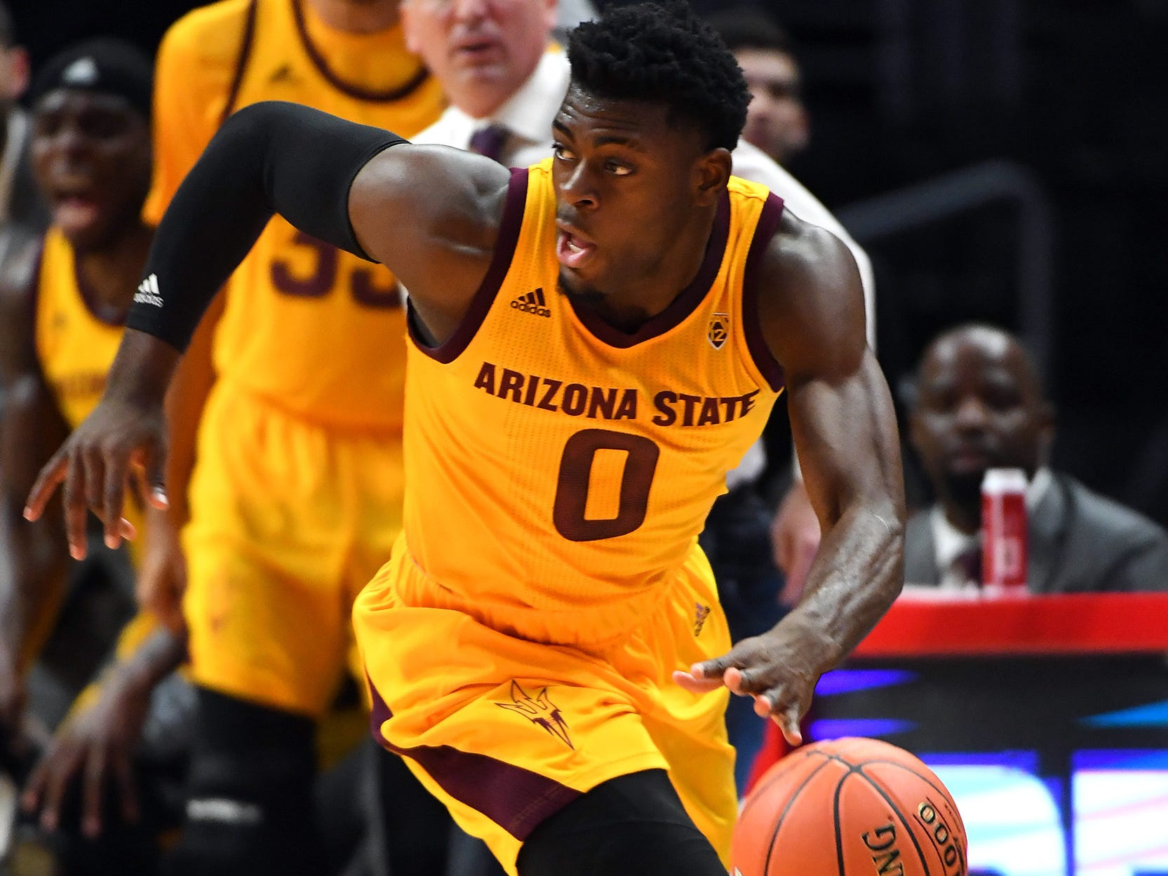 Dec 7, 2018; Los Angeles, CA, USA;  Arizona State Sun Devils forward Taeshon Cherry (35) and head coach Bobby Hurley watch from the bench as guard Luguentz Dort (0) steals the ball and takes it down court in the first half of the game against the Nevada Wolf Pack at Staples Center. Mandatory Credit: Jayne Kamin-Oncea-USA TODAY Sports