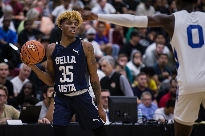 Scottsdale Bella Vista Prep's Terry Armstrong sets up on offense against Spire Academy during the Hoophall West game against Spire Academy on Friday, Dec. 7, 2018, at Chaparral High School in Scottsdale, Ariz.