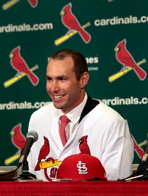 St. Louis Cardinals' newest player Paul Goldschmidt speaks after his introduction at a baseball news conference, Friday, Dec. 7, 2018 at Busch Stadium in St. Louis. The six-time All-Star was acquired from Arizona this week and will earn $14.5 million in the final season of a seven-year deal that will pay $46 million, including a $1 million assignment bonus for the trade. (Robert Cohen/St. Louis Post-Dispatch via AP)