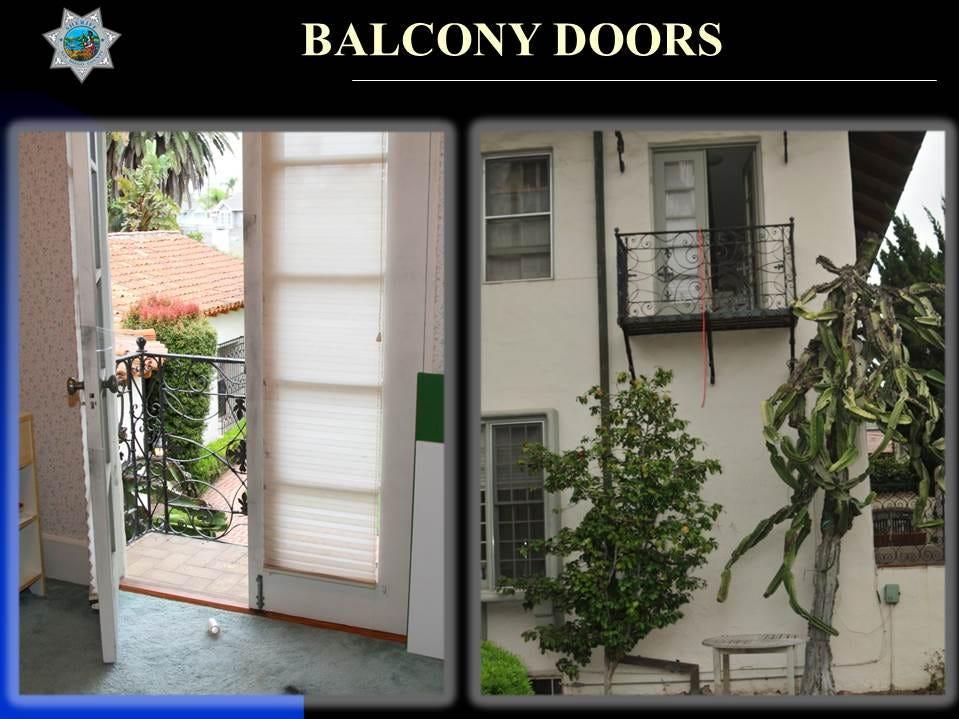Interior and exterior views of the balcony where Rebecca Zahau was found hanging.