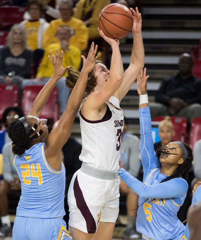 ASU FILE- Arizona State University's Jayde Van Hyfte against Southern during the first half of their game in Tempe, Friday, Dec. 7, 2018. Darryl Webb/Special for the Republic
