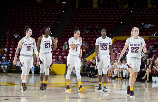 Arizona State University's Robbi Ryan (1) Sophia Elena (21) Reili Richardson (1) Charnea Johnson-Chapman  and Courtney Ekmark (22) against Southern during the first half of their game in Tempe, Friday, Dec. 7, 2018. Darryl Webb/Special for the Republic