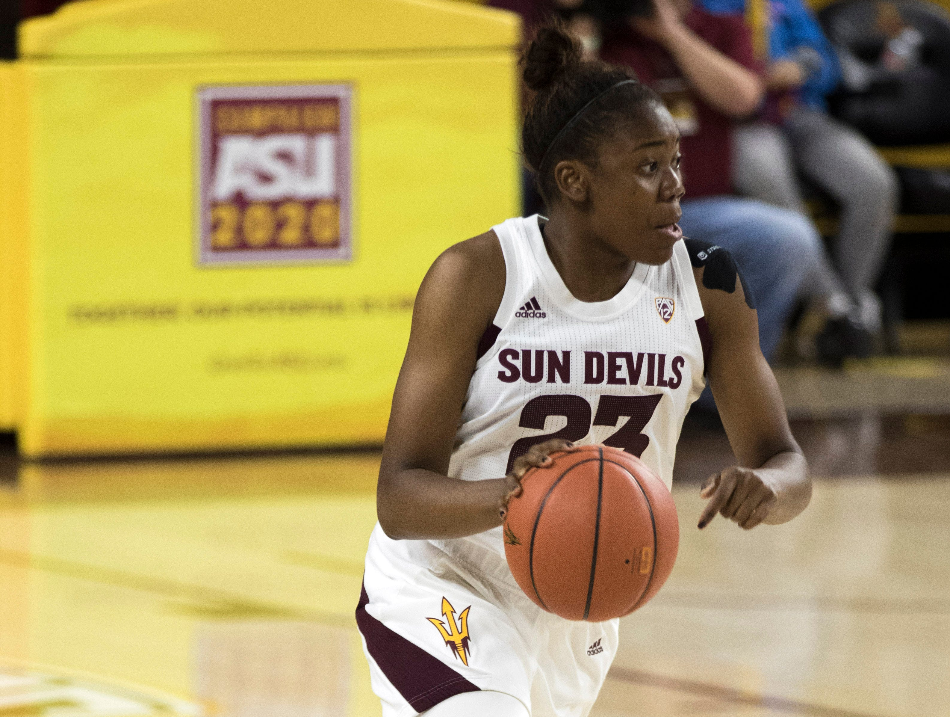 ASU FILE- Arizona State University's Iris Mbulito against Southern during the first half of their game in Tempe, Friday, Dec. 7, 2018. Darryl Webb/Special for the Republic